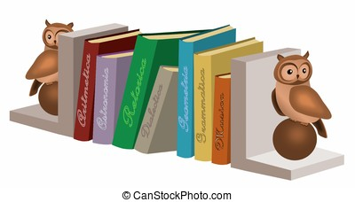 Septem artes liberales - Books between two owl-shaped...