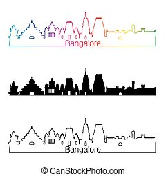 Bangalore skyline linear style with rainbow in editable...
