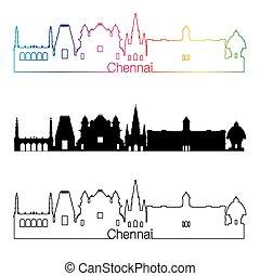 Chennai skyline linear style with rainbow in editable vector...