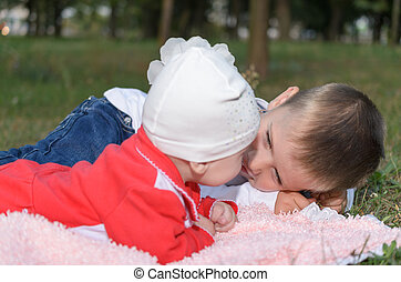 Underage boy with his little sister - Underage boy with his...