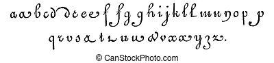 Lowercase, vintage engraving. - Lowercase, vintage engraved...