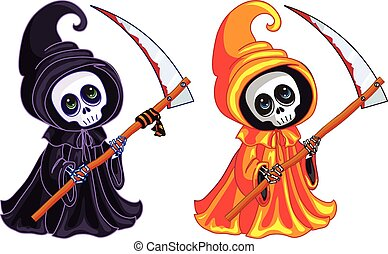 Grim Reaper. Two characters of different colors.