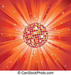 Sparkling disco ball on orange light burst and glitter stars