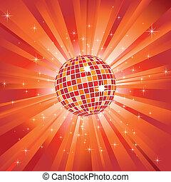 Sparkling disco ball on orange light burst and glitter stars