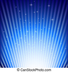 Sparkling stars on blue light burst background