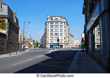 Street in Rennes - Cross-road in Rennes with building in the...
