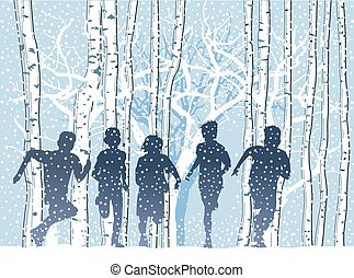 Kinder im Winterwald.eps - Children in the winter forest