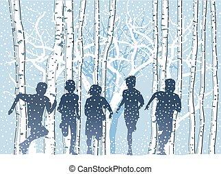 Kinder im Winterwald.eps - Children in the winter forest