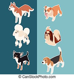 Collection of isometric dogs3 - Vector set of isometric...