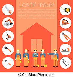 Home improvement banner1 - Vector banner of masters with...