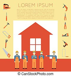 Home improvement banner2 - Vector banner of masters with...