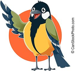 Happy cartoon Titmouse - Vector image of a happy cartoon...
