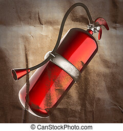 metallic fire extinguisher painted on paper
