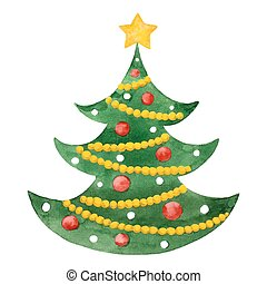 Watercolor fir tree with baubles and star