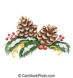 Watercolor Christmas illustration of fir tree branches