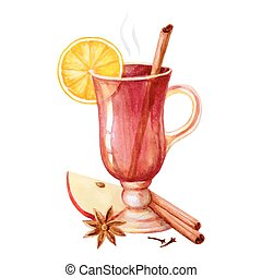 Watercolor mulled wine, spices and lemon Postcard for...