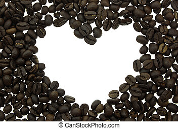 Coffee beans in shape of heart isolated on white background