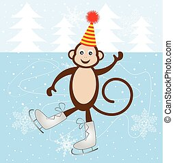 Cheerful monkey skate on the ice