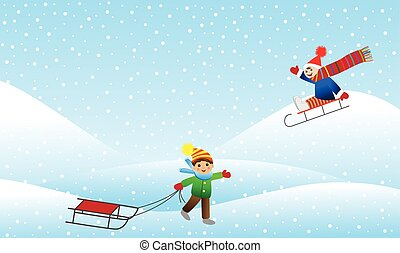 Two cheerful boy sledding mountain, vector illustration