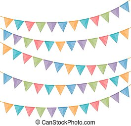 Bunting Flags - Bunting flags on white background, vector...