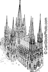 A cavalier view of the thirteenth century Cathedral, built entirely after the type adopted in Reims, vintage engraving.
