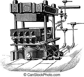 Press block machine, vintage engraving.