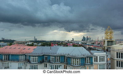 Russia, Moscow cityscape timelapse. View from the roof of a house in the Central part of the city.