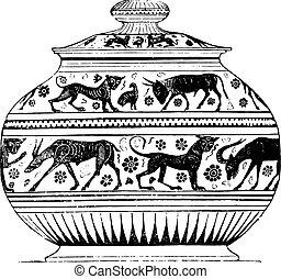 Greek vase, vintage engraving.