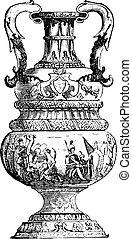 Large Vase of Delft, vintage engraving. - Large Vase of...