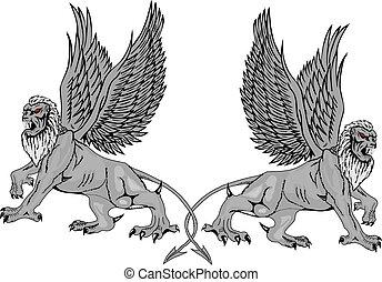 Two mythological griffins.Vector - Two mythological griffins...