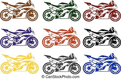 motorcycle - coloured motorcycle in the vector depicted on a...