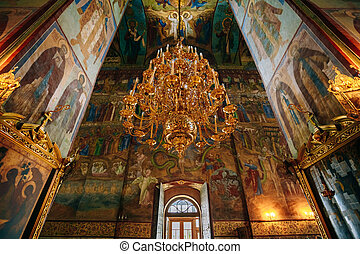 Interior Of Dormition or Assumption Cathedral in Russia -...