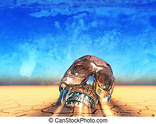 skull - a crystal skull in the desert,