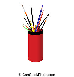 Pencils and brushes in a red glass.