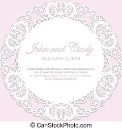 Romantic wedding announcement with white lace and pink...