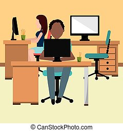 Office interior workplace design, vector illustration...