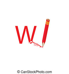 Pencil and the drawn letter.Vector