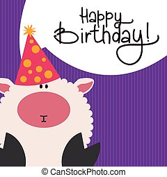 Happy birthday - Textured background with text and an animal...