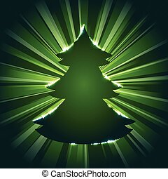 Glowing Christmas tree silhouette