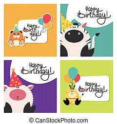 Happy birthday - Set of textured backgrounds with text and...