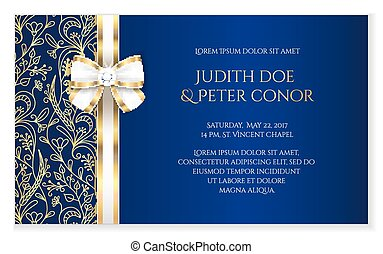 Royal blue romantic wedding announcement with golden floral...
