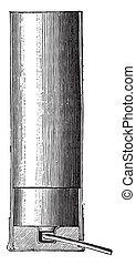 Cartridge spindle, vintage engraving. - Cartridge spindle,...