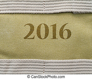 Background of burlap, with place 2016 textTexture natural