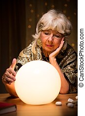 Fortune teller with crystal ball - Portrait of fortune...