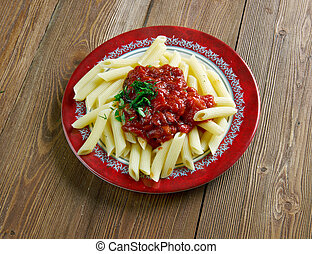 Penne with arrabiata - Penne pasta with sauce arrabiata...