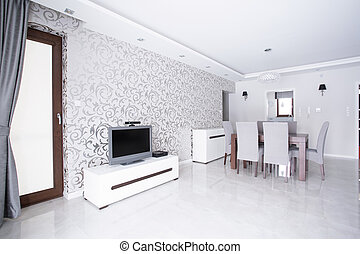 Room with patterned wallpaper