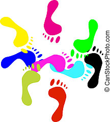 Colour prints of feetVector - Colour prints of feet on a...