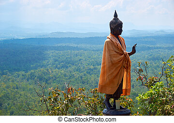 Buddha statue stand on mountain under blue sky - Buddha...