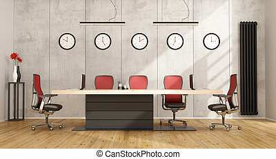 Minimalist boardroom with modern furniture