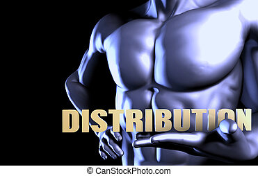 Distribution With a Business Man Holding Up as Concept